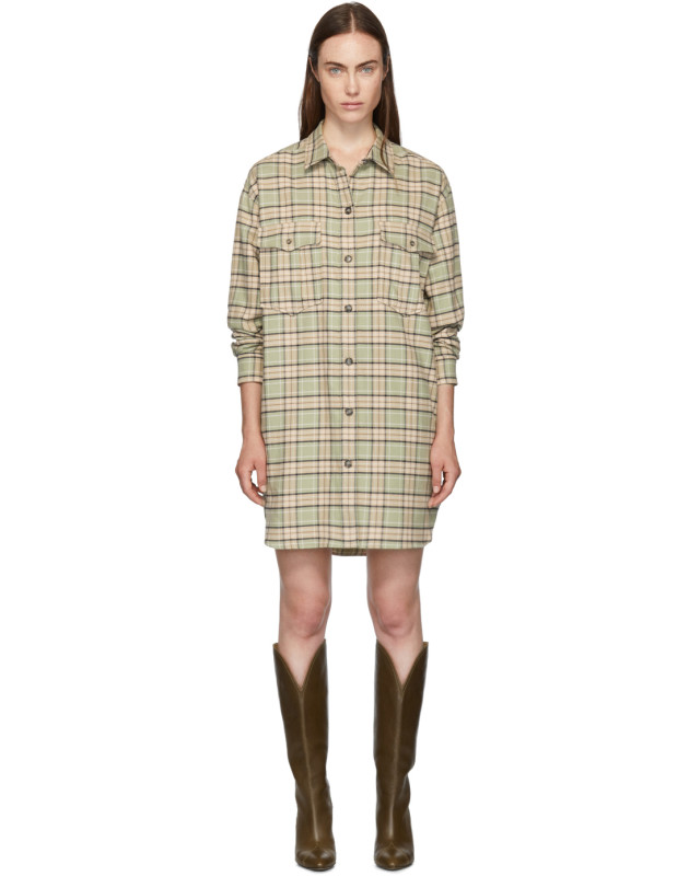 photo Green and Orange Check Iceo Pilou Dress by Isabel Marant Etoile - Image 1