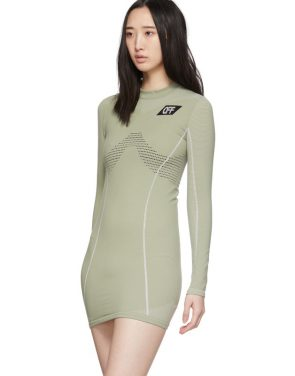 photo Green Athletic Long Sleeve Dress by Off-White - Image 4