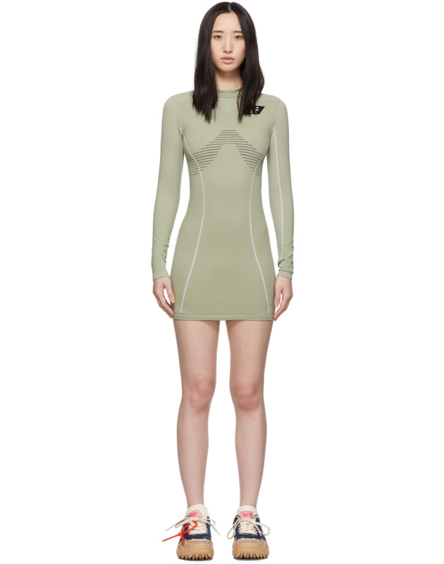 photo Green Athletic Long Sleeve Dress by Off-White - Image 1
