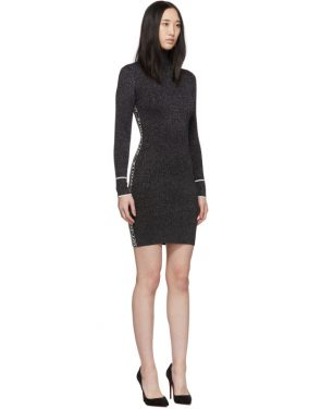 photo Silver and Black Lurex Logo Turtleneck Dress by Off-White - Image 2