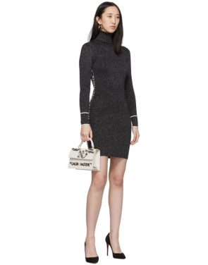 photo Silver and Black Lurex Logo Turtleneck Dress by Off-White - Image 5