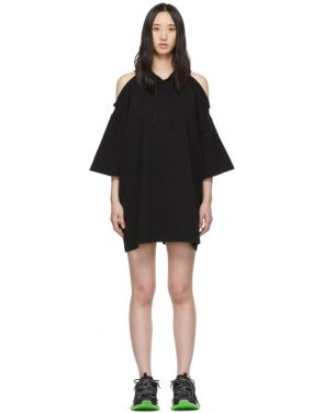 photo Black Open Shoulder Hoodie Dress by VETEMENTS - Image 1