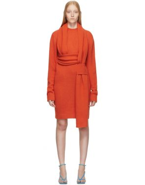 photo Orange Look 5 Wool Sweater Dress by Bottega Veneta - Image 1