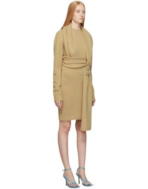 photo Beige Brushed Wool Dress by Bottega Veneta - Image 2