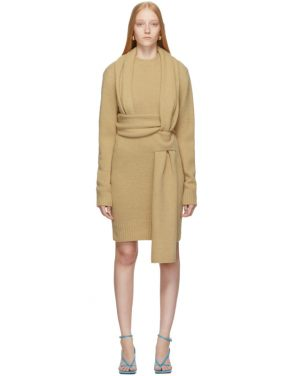 photo Beige Brushed Wool Dress by Bottega Veneta - Image 1