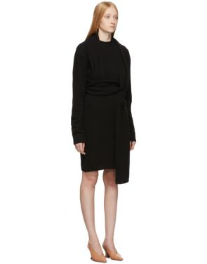 photo Black Twin Scarf Knit Dress by Bottega Veneta - Image 2