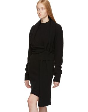 photo Black Twin Scarf Knit Dress by Bottega Veneta - Image 4