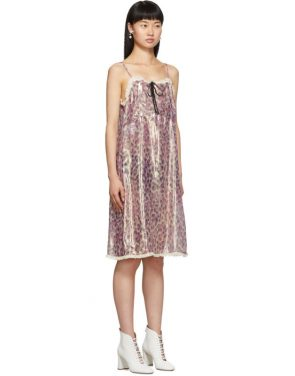 photo Pink Silk Chiffon Print Dress by Miu Miu - Image 2