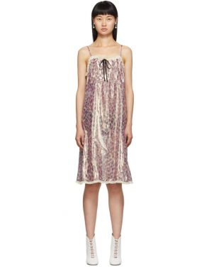 photo Pink Silk Chiffon Print Dress by Miu Miu - Image 1