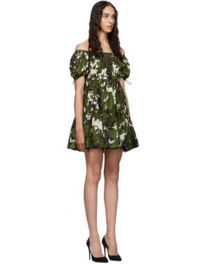 photo Green and Brown Camo Taffeta Dress by Miu Miu - Image 2