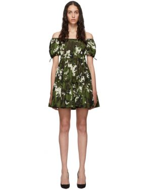 photo Green and Brown Camo Taffeta Dress by Miu Miu - Image 1