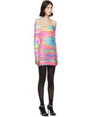 photo Multicolor Tie-Dye Glitter Jolene Off-Shoulder Dress by Sies Marjan - Image 2