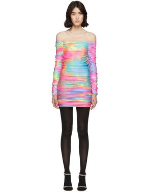 photo Multicolor Tie-Dye Glitter Jolene Off-Shoulder Dress by Sies Marjan - Image 1