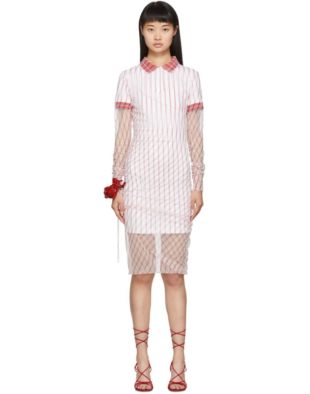 photo Red Printed Condom Polo Dress by Y/Project - Image 1