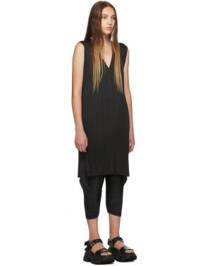 photo Black V-Neck Dress by Pleats Please Issey Miyake - Image 2