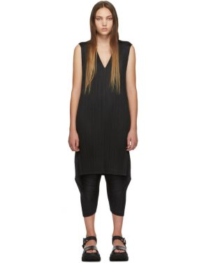 photo Black V-Neck Dress by Pleats Please Issey Miyake - Image 1