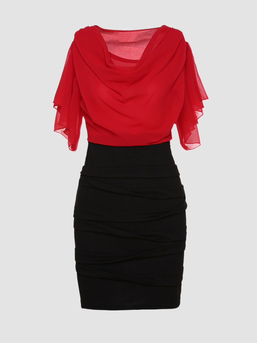 Color Block Falbala Round Neck Bodycon Dress