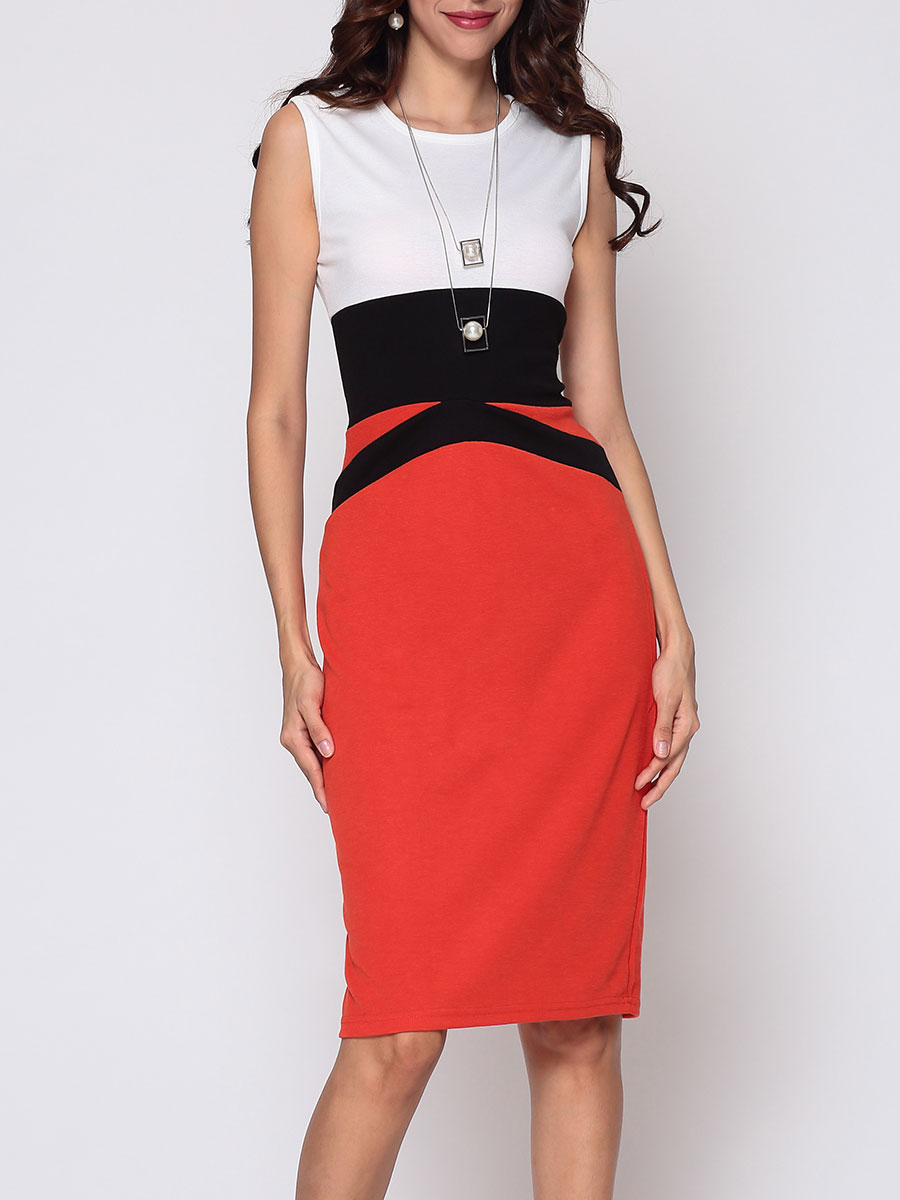 photo Color Block Celebrity Round Neck Bodycon Dress by FashionMia, color Orange Red - Image 1