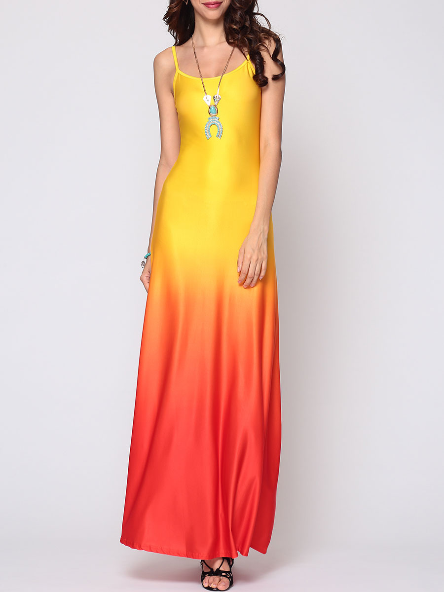 photo Gradient Sparkling Spaghetti Strap Maxi Dress by FashionMia, color Yellow - Image 1