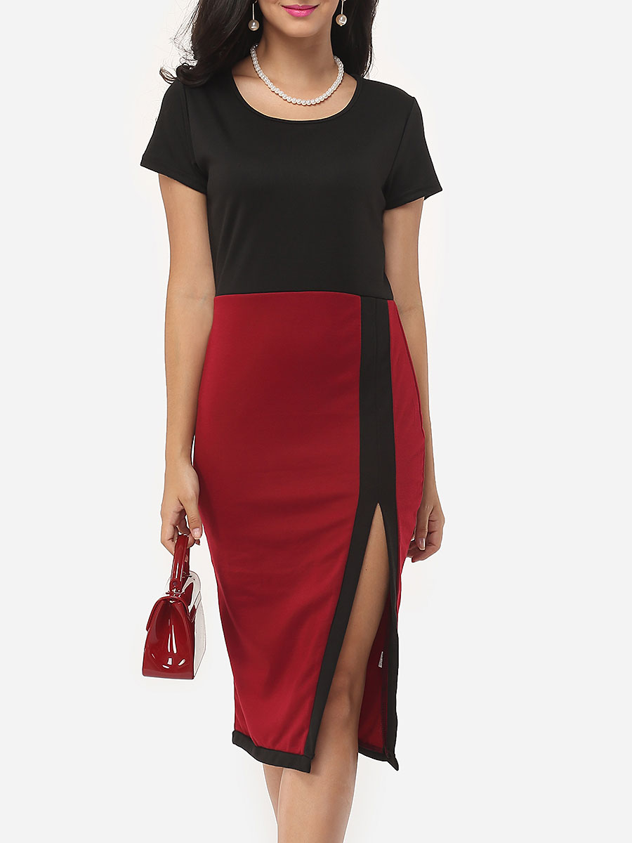 Color Block High Slit Captivating Round Neck Bodycon Dress