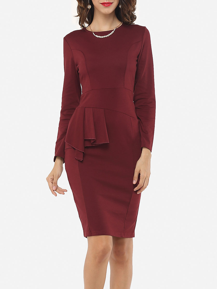 photo Plain Falbala Elegant Round Neck Bodycon Dress by FashionMia, color Claret Red - Image 1