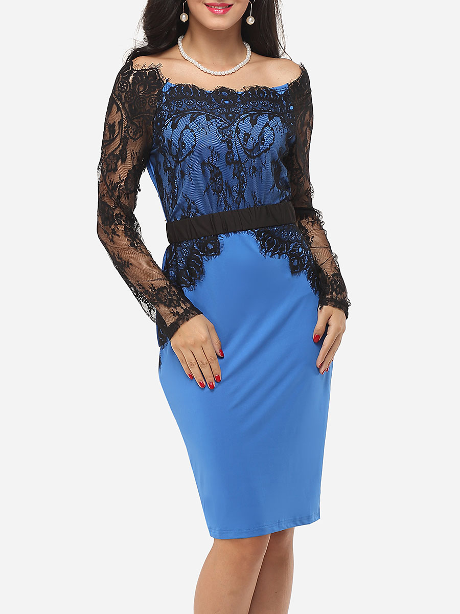 photo Hollow Out Lace Patchwork Split Celebrity Off Shoulder Bodycon Dress by FashionMia, color Lake Blue - Image 1