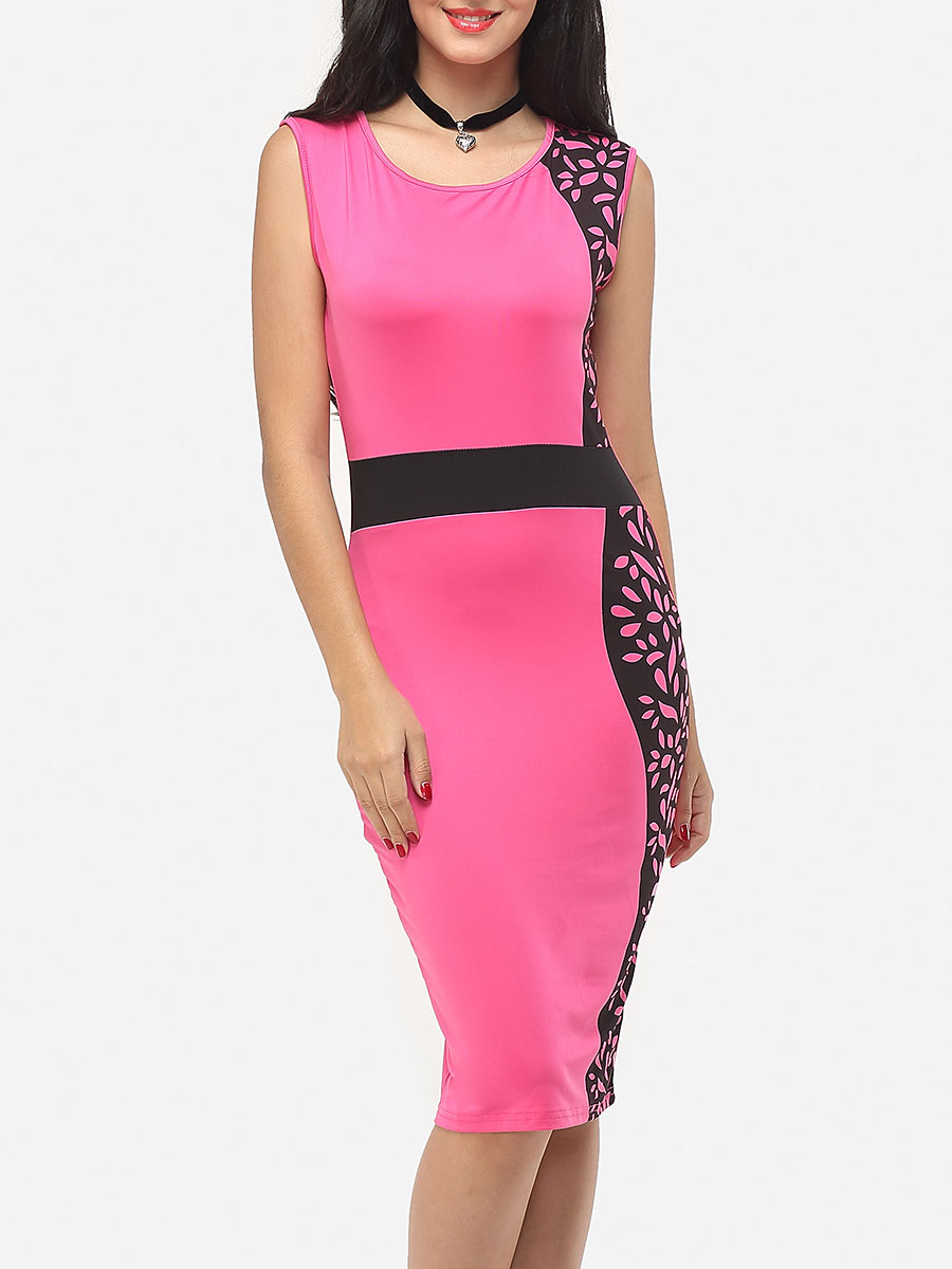 photo Printed Celebrity Round Neck Bodycon Dress by FashionMia, color Rose - Image 1