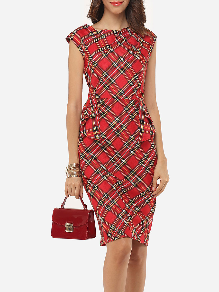 photo Plaid Printed Zips Elegant Round Neck Bodycon Dress by FashionMia, color Red - Image 1