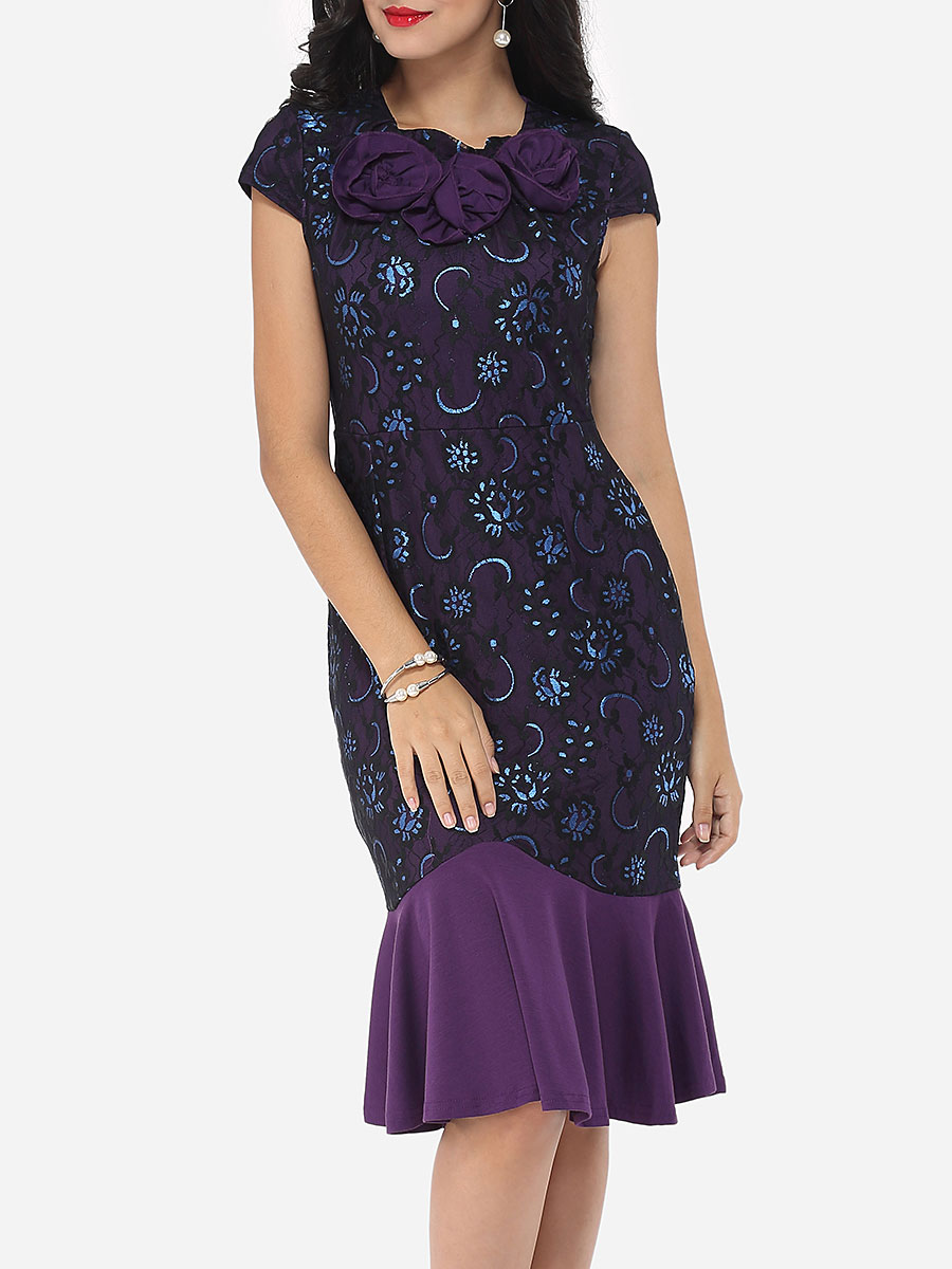 photo Floral Lace Printed Mermaid Elegant Round Neck Bodycon Dress by FashionMia, color Purple - Image 1