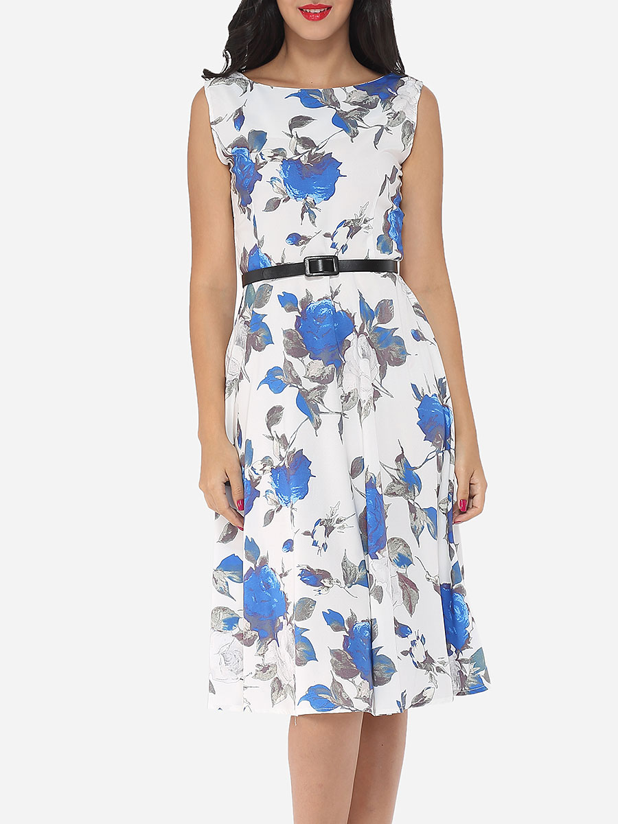 photo Floral Printed Exquisite Round Neck Skater Dress by FashionMia, color Blue - Image 1