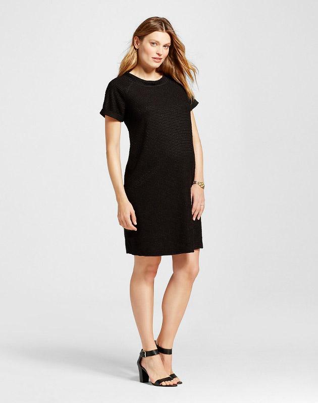 photo Maternity Texture Stripe Dress by Liz Lange for Target, color Black - Image 1