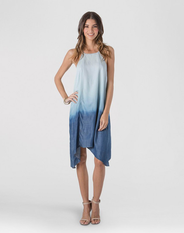 photo Chambray Dip Dye Sharkbite Hem Dress by S&P by Standards and Practices, color Light Blue Dip Dye - Image 1