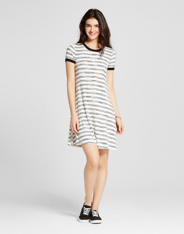 photo Ringer T-Shirt Dress by Mossimo Supply Co., color Black/White Stripe - Image 1