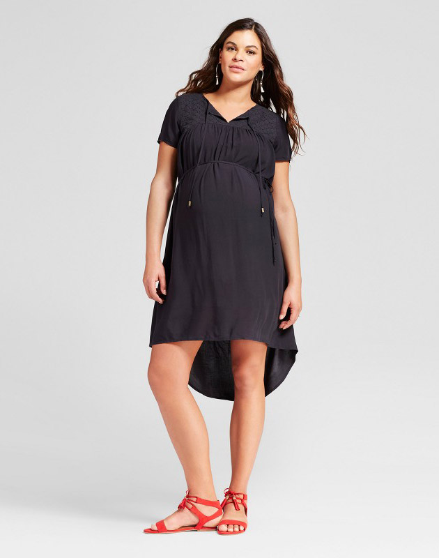 photo Maternity Eyelet Dress by 14Th Place, color Black - Image 1