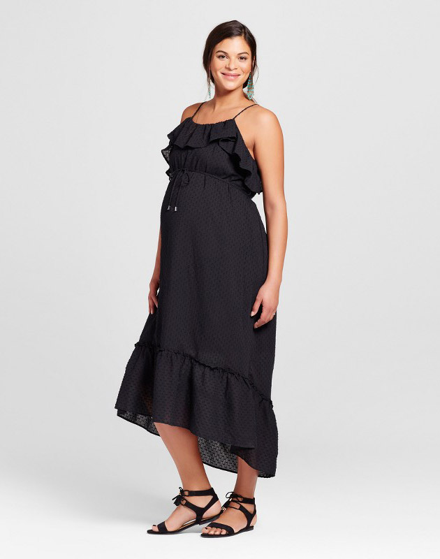 photo Maternity Cold Shoulder Maxi Dress by 14Th Place, color Black - Image 1