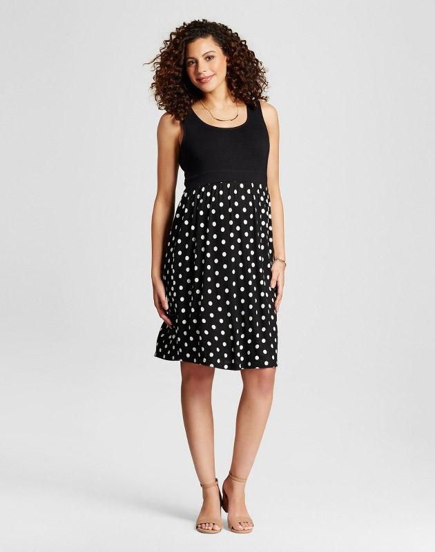 photo Maternity Polka Dot Print Dress by MaCherie, color Black - Image 1