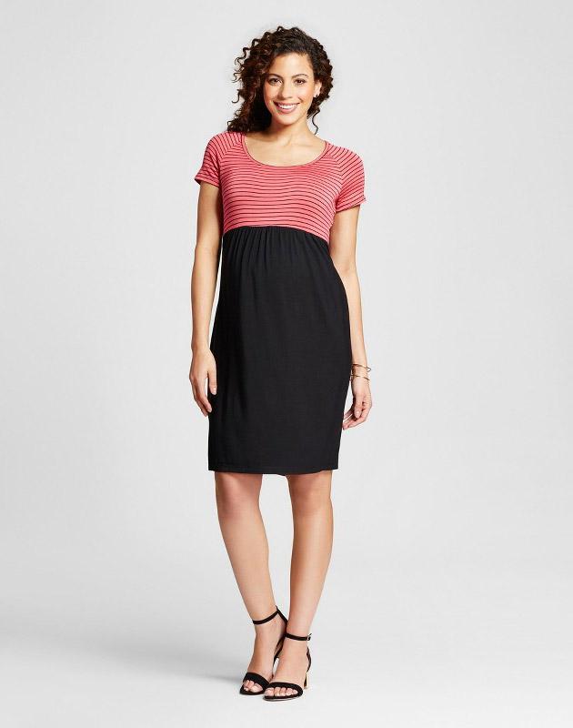 photo Maternity Stripe Print Short Sleeve Dress by MaCherie, color Black - Image 1