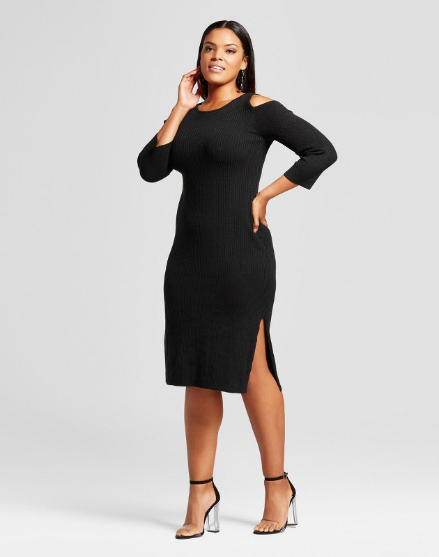 photo Plus Size Cold Shoulder Ribbed Sweater Dress by Mossimo, color Black - Image 1
