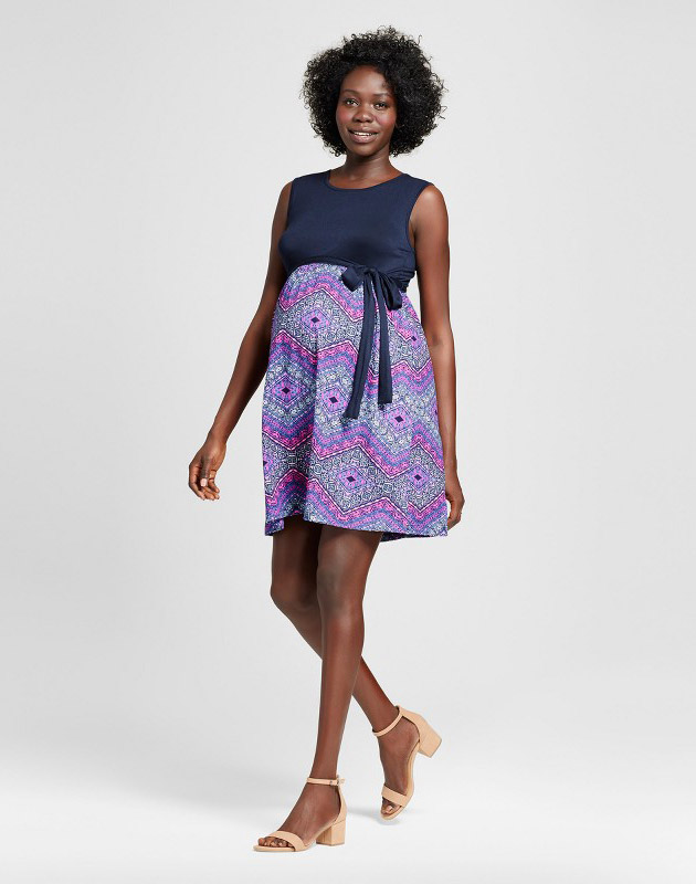 photo Maternity Sleeveless Solid Top And Print Bottom Dress by MaCherie, color Blue - Image 1