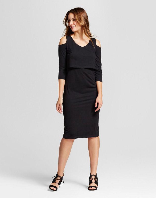 photo Maternity Cold Shoulder Knit Overlay Dress by Fynn & Rose, color Black - Image 1