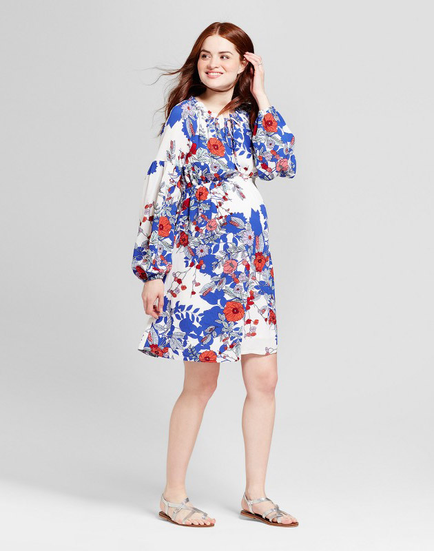 photo Maternity Floral Billow Sleeve Shirt Red Neckline Dress by Fynn & Rose, Multicolor - Image 1
