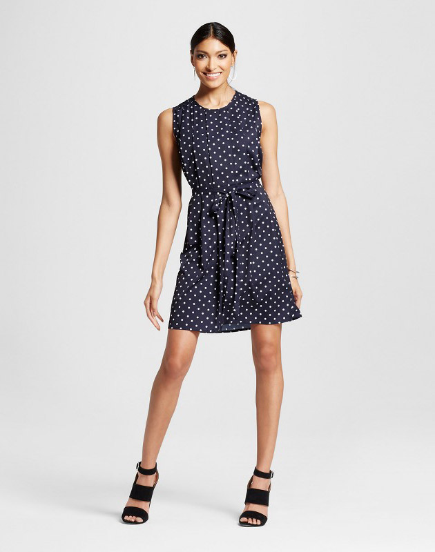 photo Polka Dot Pleated Dress by K by Kersh, color Navy - Image 1
