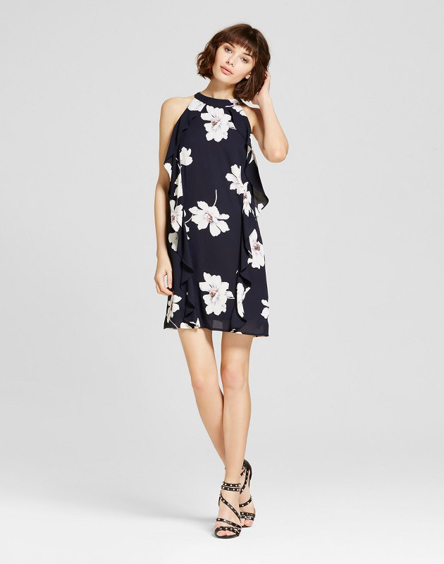photo Sleeveless Floral Ruffle Side Dress Navy by Eclair, color Navy - Image 1