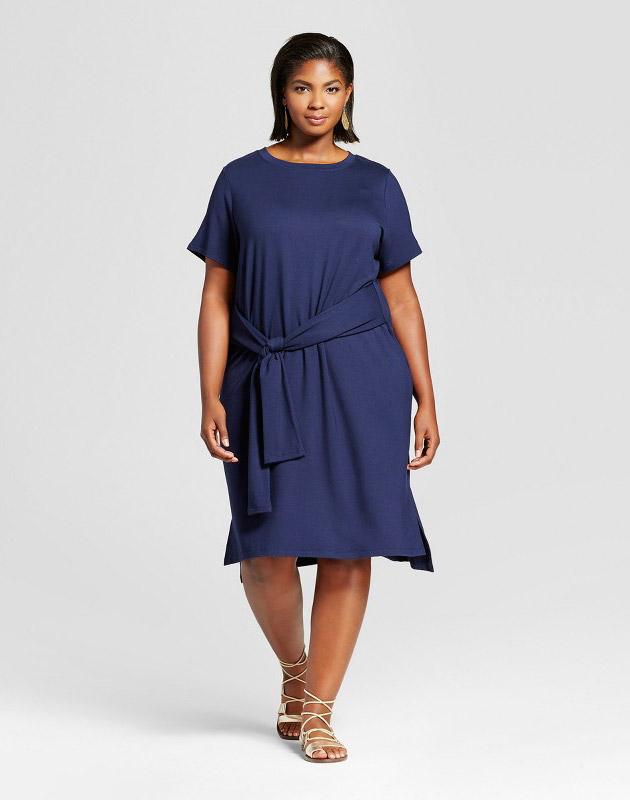 photo Plus Size Tie Waist T-Shirt Dress by Ava & Viv, color Navy - Image 1