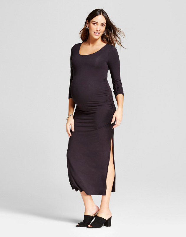 photo Maternity 3/4 Sleeve Shirred Maxi Dress by Isabel Maternity by Ingrid & Isabel, color Black - Image 1
