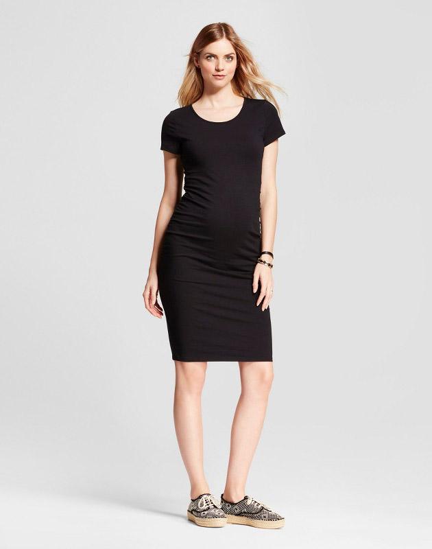 photo Maternity Short Sleeve Shirred T-Shirt Dress by Isabel Maternity by Ingrid & Isabel, color Black - Image 1