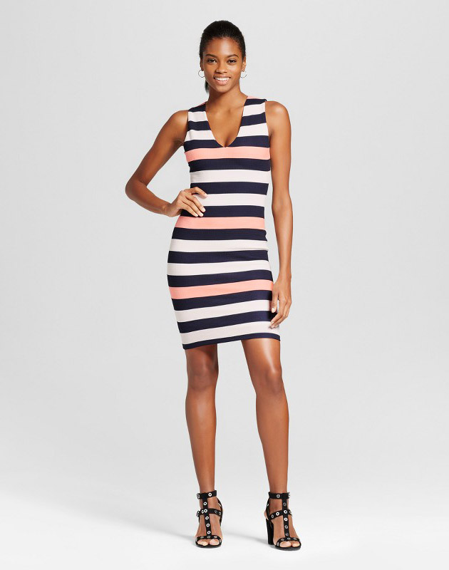 photo V-Neck Stripe Bodycon Dress by Necessary Objects