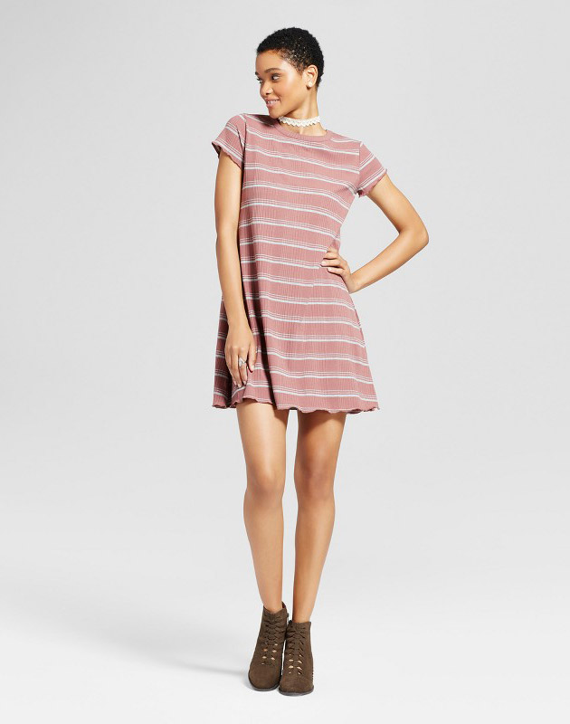 photo Striped Ruffle T-Shirt Dress by Mossimo Supply Co., color Mauve (Pink) - Image 1
