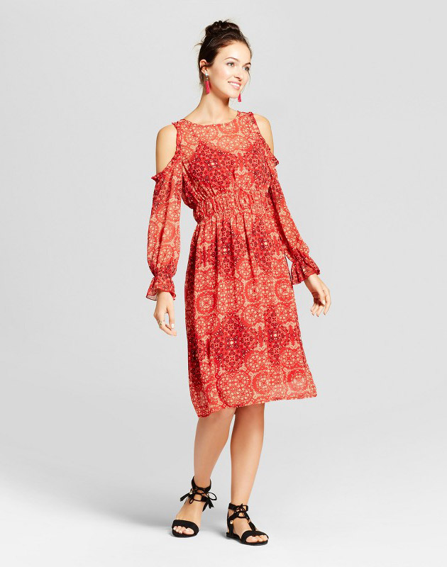 photo Ruffle Cold Shoulder Midi Dress with Slip by Knox Rose, color Red - Image 1