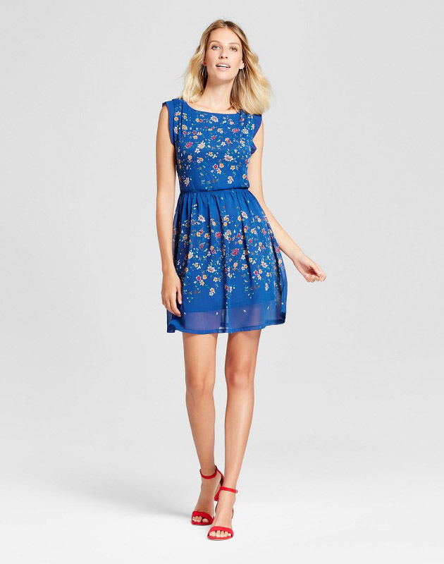 photo Floral Printed Cinched Waist Flutter Sleeve Dress by Isani for Target, color Multi - Image 1